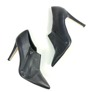CK Textured Pointed Toe Zipper Leather Ankle Boots